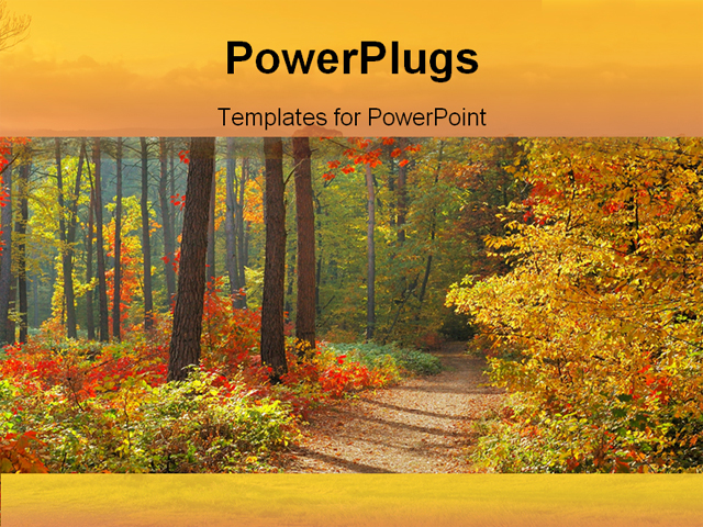 PowerPoint Templates nature autum landscape trees yellow orange nature