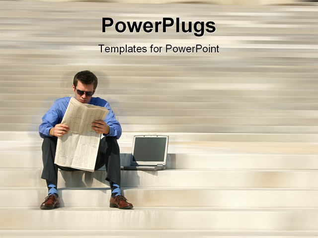 PowerPoint Template about adult, blue, business