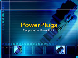 powerpoint template: working gears as a metaphor blue background, Modern powerpoint