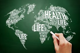 Image of Health and Life World Map in Typography Sport Health