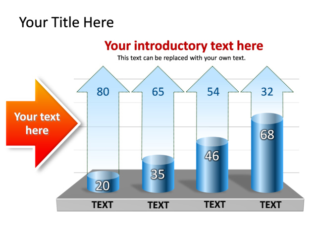 PowerPoint Slide - Chart Clustered column - Blue - 4 column - TG280