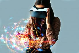 Image of Woman with Glasses of Virtual Reality Future Technology